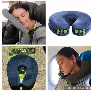 Face Cradle Travel Pillow, Blue Velour, 5 modes